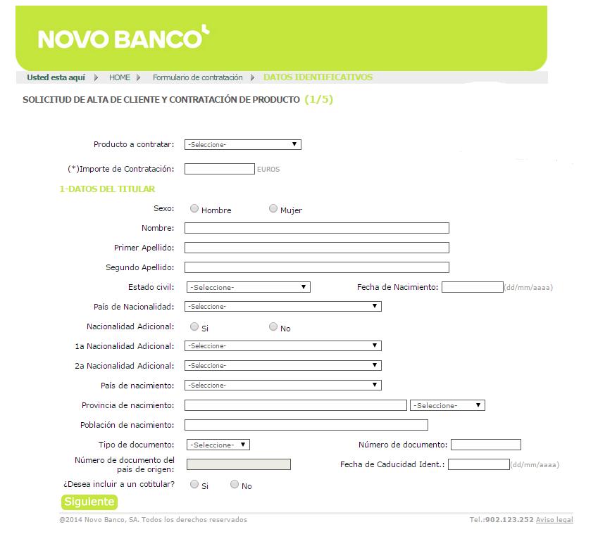 CONTRATACION DEPOSITO NOVO BANCO 6 MESES