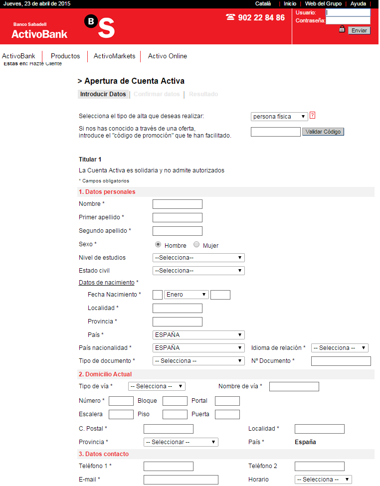 CONTRATAR DEPOSITO ONLINE ACTIVOBANK